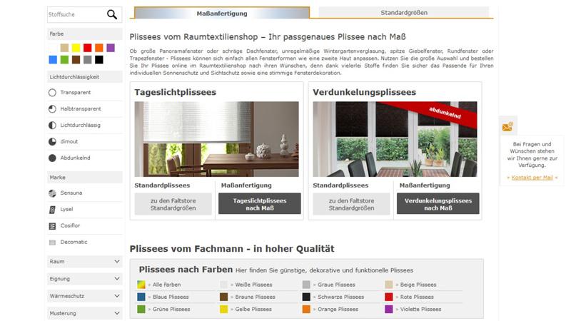 Raumtextilienshop-Screenshot-Plissee