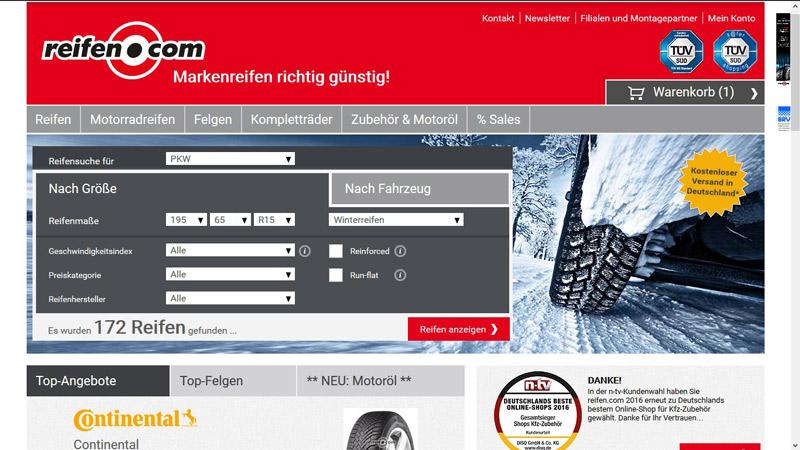 Reifen.com-Startseite