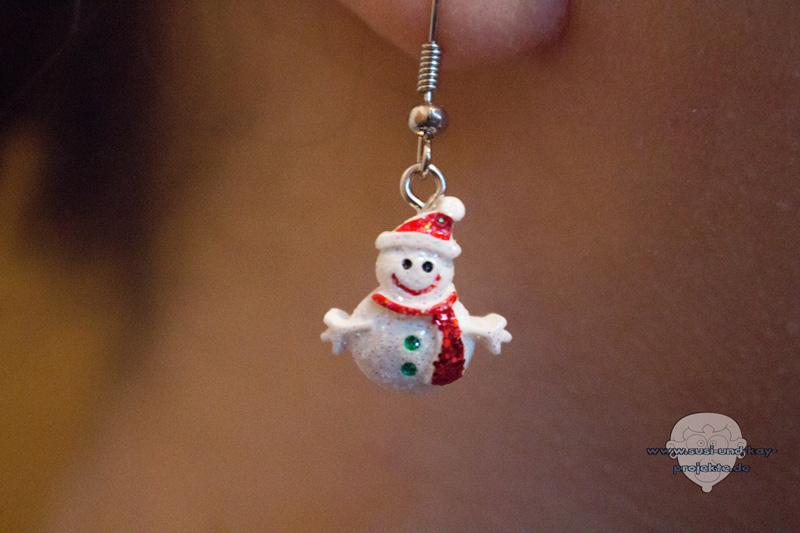 Weihnachtsohrringe-Schneemann