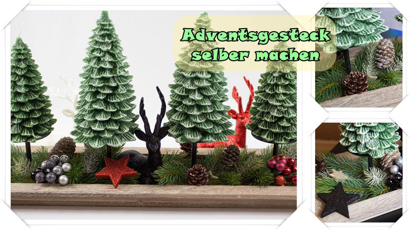 adventsgesteck selber machen mit tollen tannenbaum adventskerzen. Black Bedroom Furniture Sets. Home Design Ideas