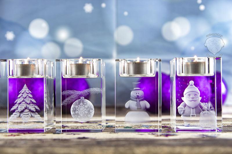 Weihnachten-Teelichthalter-Glas