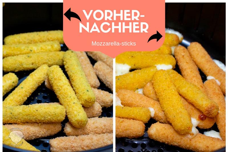 Vorher-Nachher-Mozzarella-sticks-Heißluftfritteuse